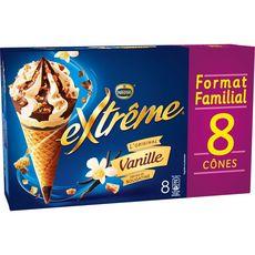 EXTREME Cônes glacés vanille pépites de nougatine 8 pièces 568g