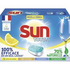 SUN Tablettes lave-vaisselle tout en 1 au citron 24 lavages 24 tablettes