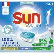 SUN Tablettes lave vaisselle tout en 1 100% efficace 48 lavages 48 tablettes