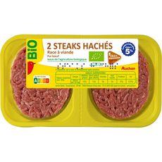 AUCHAN BIO Steaks hachés Pur Bœuf 5%mg bio 2 pièces 250g