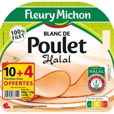 Fleury Michon Blanc de poulet halal tranches fines 10+4 offertes