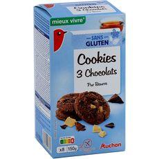 AUCHAN MIEUX VIVRE Cookies biscuits aux 3 chocolats pur beurre sans gluten 8 biscuits 150g