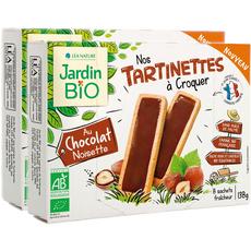 JARDIN BIO ETIC Tartinettes à croquer chocolat noisettes 2x138g