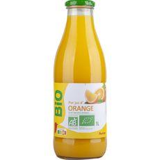 AUCHAN BIO Pur jus d'orange bouteille verre 1l