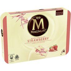 MAGNUM Bâtonnet glacé à la fraise et au chocolat blanc 4 pièces 360g
