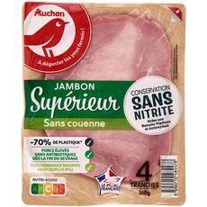 AUCHAN Jambon supérieur sans nitrite sans couenne 4 tranches 160g