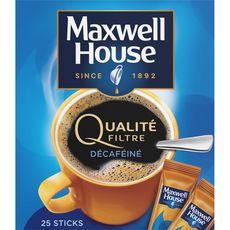 MAXWELL Café soluble en stick qualité filtre décaféiné 25 sticks 45g