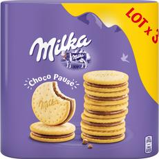 MILKA Choco pause biscuits fourrés au chocolat au lait 3 paquets  3x260g