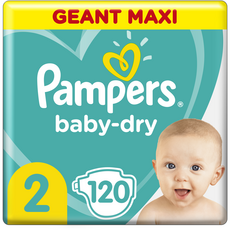 PAMPERS Baby-dry Couches taille 2 (4-8kg) 12h de protection 120 couches