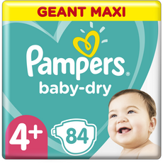 PAMPERS Baby-dry Couches taille 4+ (10-15kg) 12h de protection 84 couches