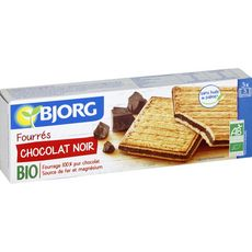BJORG Biscuits bio fourrés au chocolat noir, sachets fraîcheur 3x3 biscuits 225g