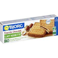 BJORG Biscuits bio fourrés chocolat lait noisette, sachets fraîcheur 3x3 biscuits 225g