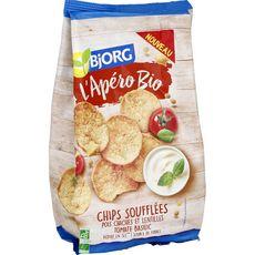 BJORG L'Apéro Bio Chips soufflées pois chiches lentilles tomate basilic 80g