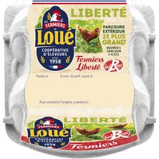 LOUE Oeufs de poules gros Label Rouge de plein air 4 oeufs