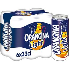 ORANGINA Boisson gazeuse light à la pulpe de fruit jaune boîtes slim 6x33cl