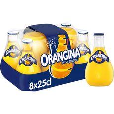 ORANGINA Boisson gazeuse à la pulpe de fruit jaune bouteilles verre 8x25cl