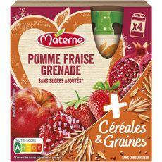 MATERNE Dessert céréales graines pomme fraise sans sucres ajoutés 4x90g