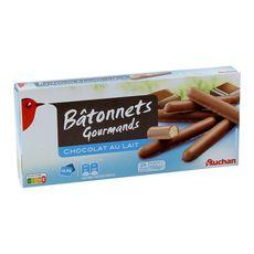 AUCHAN Bâtonnets nappés de chocolat au lait 24 biscuits 150g