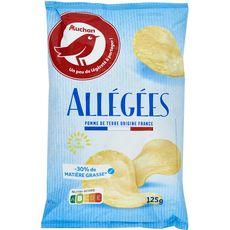AUCHAN Chips allégées -30%MG à l'huile de tournesol 125g