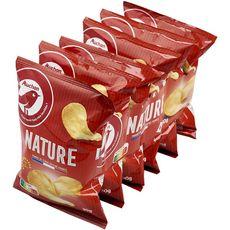 AUCHAN Chips nature fines et croustillantes - sachets individuels lot de 6 6x30g