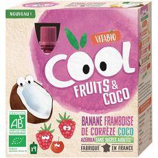 VITABIO Cool fruits gourdes banane framboise coco 4x85g