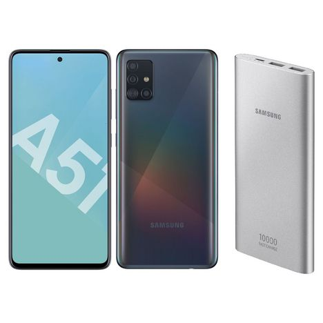 SAMSUNG Smartphone GALAXY A51 128 Go 6.5 pouces Noir 4G  +  Batterie externe Silver