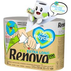 RENOVA Essuie tout blanc XXL extra long 100% recycled 2 rouleaux