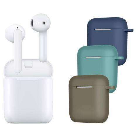 QILIVE Écouteurs sans fil Bluetooth avec étui de charge - Blanc - Q1960 + 3 étuis de couleur