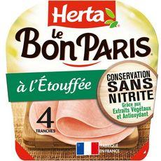 HERTA Herta Le Bon Paris Jambon à l'étouffée sans nitrite 4 tranches 140g 4 tranches 140g