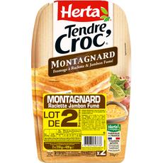 HERTA Herta Tendre Croc' Croque-monsieur montagnard raclette jambon fumé x2 2 pièces