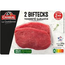 Charal Biftek de boeuf tendreté garantie cuisson 2min 2x100g