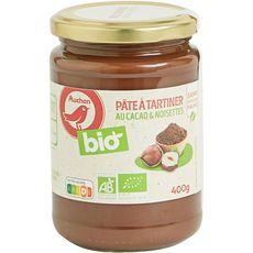 AUCHAN BIO Pâte à tartiner cacao et noisettes bio sans huile de palme 400g