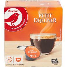 AUCHAN Dosettes café compatibles Dolce Gusto petit déjeuner 10 dosettes 70g