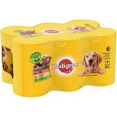 PEDIGREE Les cuisinés en sauce boîtes pâtée viande légume pour chien 6x400g