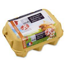 AUCHAN Oeufs de poules élevées en plein air Label Rouge 6 œufs