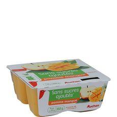 Auchan compote pomme mangue sans sucres ajoutés 4x97g