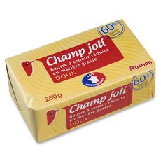 Auchan champ joli beurre doux 60%matière grasse 250g