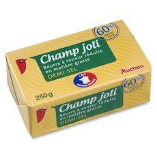 Auchan champ joli beurre demi-sel 60%mg 250g