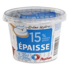 AUCHAN Crème épaisse légère 15%MG 20cl