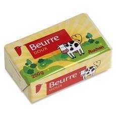 Auchan beurre doux plaquette 250g