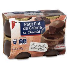Auchan petit pot de crème au chocolat 4x100g