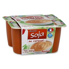 AUCHAN Dessert au soja et caramel 4x100g