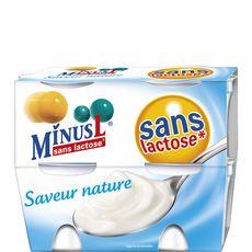 Minus yaourt nature sans lactose 4x125g