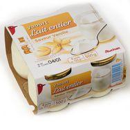 Auchan yaourt entier vanille 4x125g