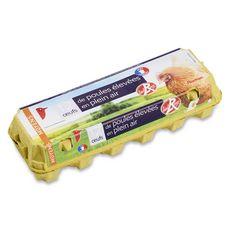 Auchan oeufs de poules élevées en plein air label rouge x12