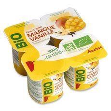 AUCHAN BIO Yaourt mixé à la mangue et vanille 4x125g