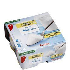 Auchan yaourt nature sans lactose 4x125g
