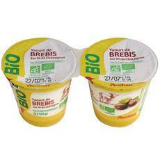 AUCHAN BIO Yaourt au lait de brebis sur lit de châtaignes 2x125g