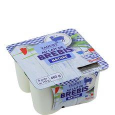 AUCHAN Yaourt nature au lait de brebis 4x115g