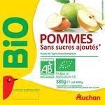 Auchan purée de pommes sans sucre ajouté bio 4x95g